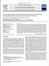 مقاله ترجمه شده با عنوان تأثیرات اقتضائی عدم قطعیت محیطی بر ارتباط بین ادغام (یکپارچگی) زنجیرة تأمین